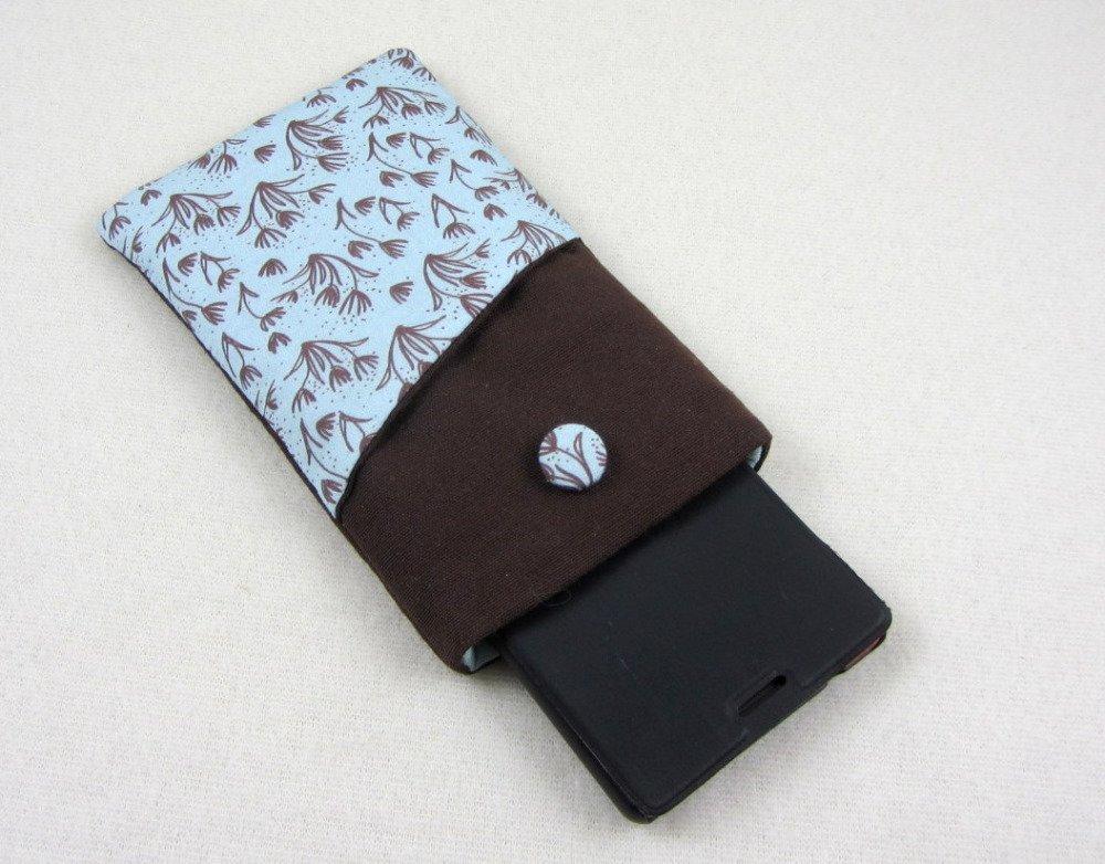 Etui téléphone portable marron et bleu