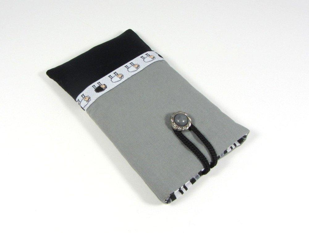 Etui portable petit moutons, gris et noir