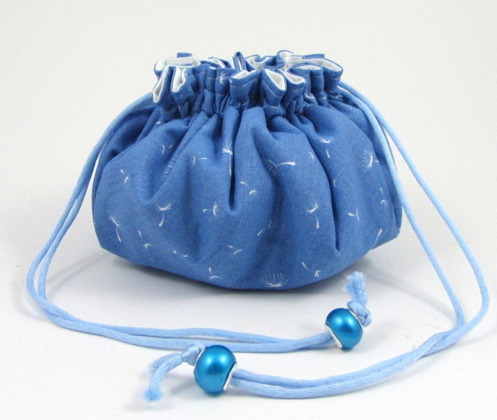 Pochette pour bijoux avec 8 poches bleu et blanc