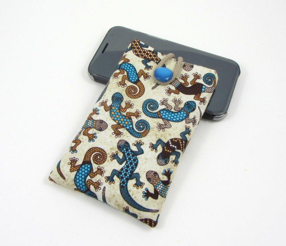 Etui portable en coton geckos