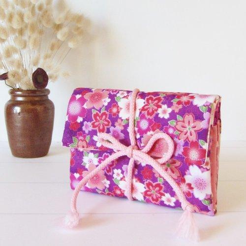 Pochette à bijoux en coton fleurs