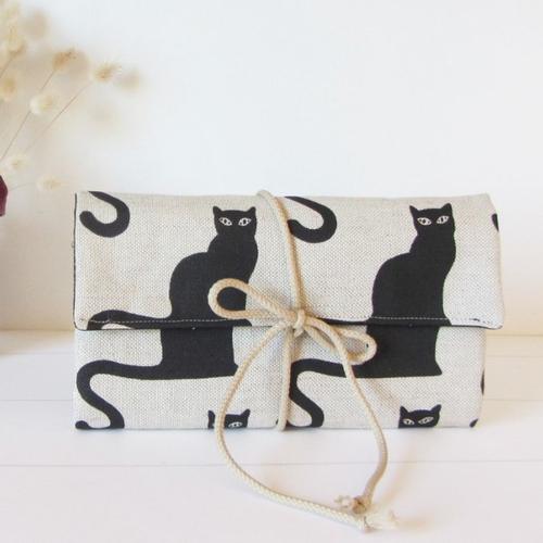 Pochette à bijoux de voyage en lin chats noir
