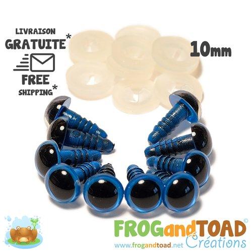 Yeux de sécurité bleu - 10mm - amigurumi crochet