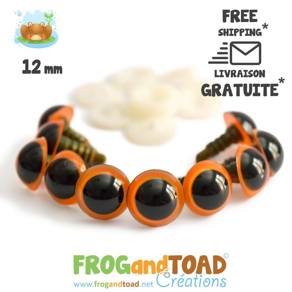 Yeux de sécurité Orange 12mm - Amigurumi Crochet
