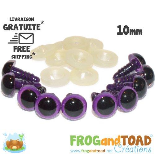 Yeux de sécurité violet 10mm - amigurumi crochet