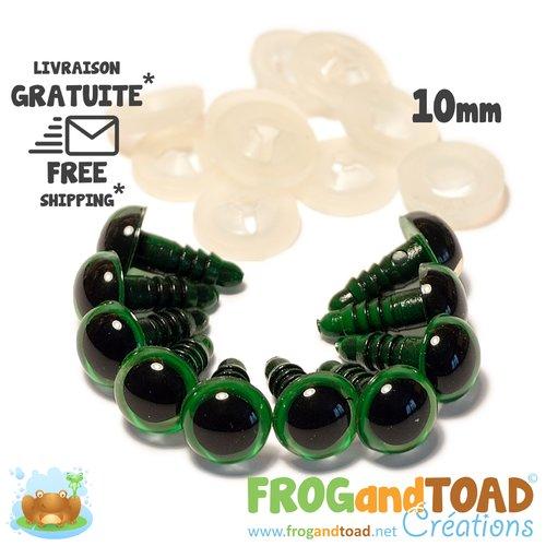 Yeux de sécurité vert - 10mm - amigurumi crochet