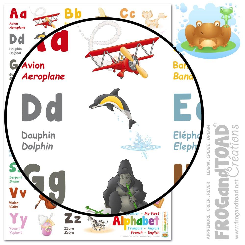 Abecedaire Alphabet Poster Bilingue Francais Anglais Ecole Homeschooling Posters Affiches Un Grand Marche