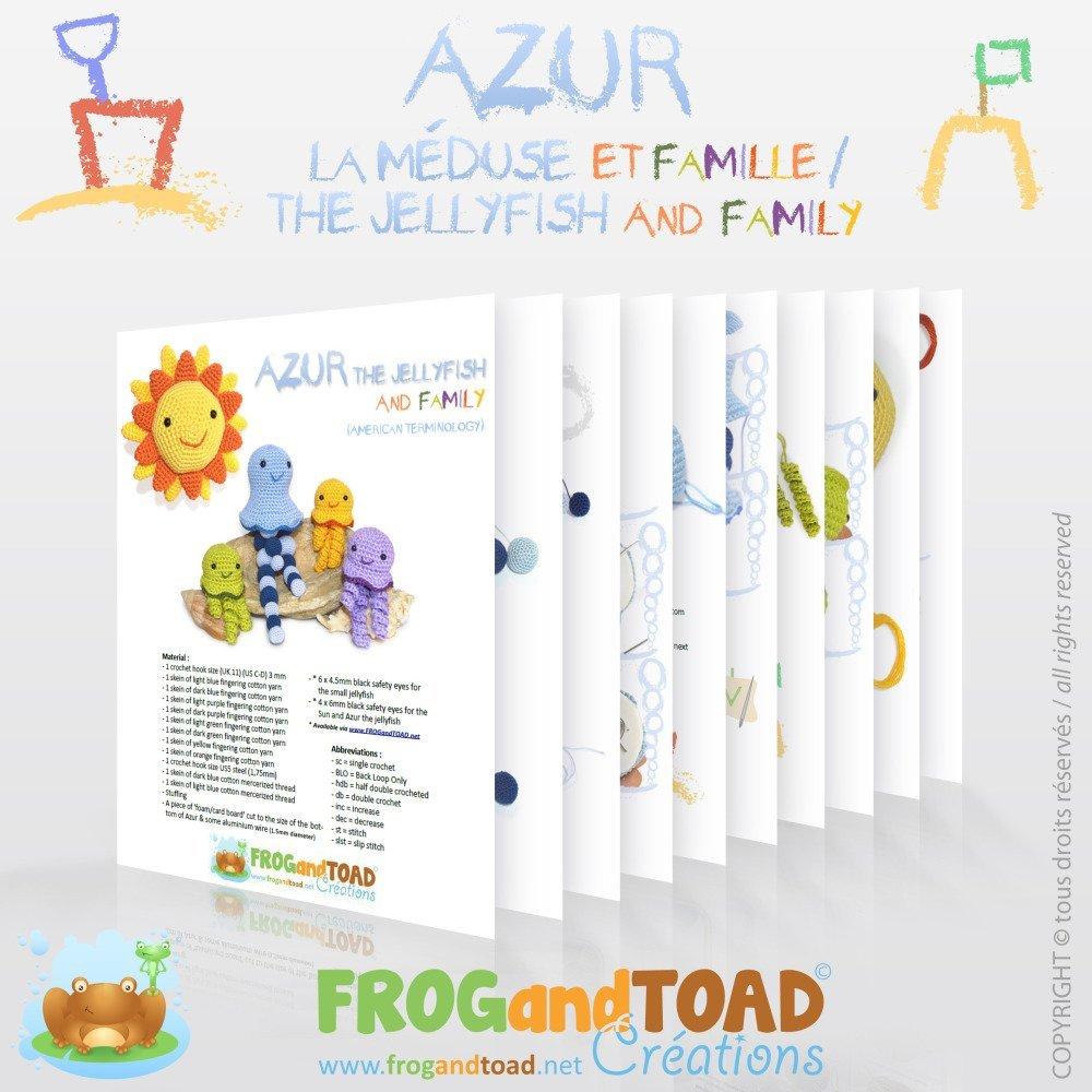 AZUR la Méduse - Soleil et Famille Amigurumi Crochet Tuto Patron - PDF Tuto Français