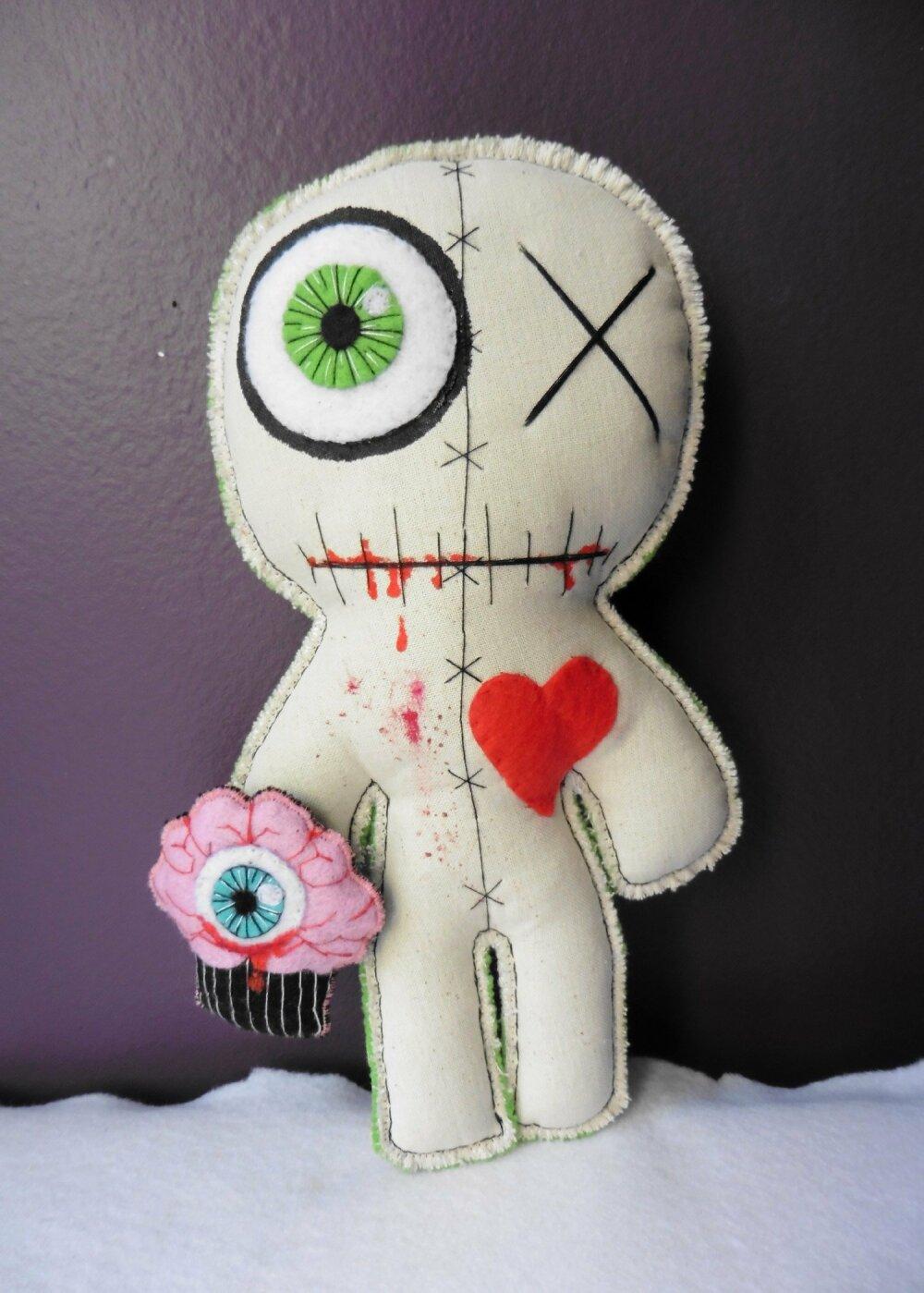 Poupée Vaudou Zombie Glouton Cupcake, Monstre, Cerveau, Mort, Gothique, Oeil, Sang, Horreur, Skull, Cannibale, Anatomie, Ogre