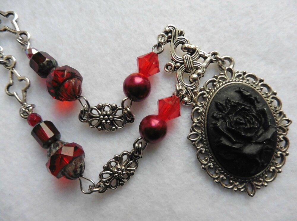 Collier Mina Harker, Vampire, Rouge, Dracula, Gothique, Sang, Noir, Mariage rouge, Victorien, Rose, Mariage gothique