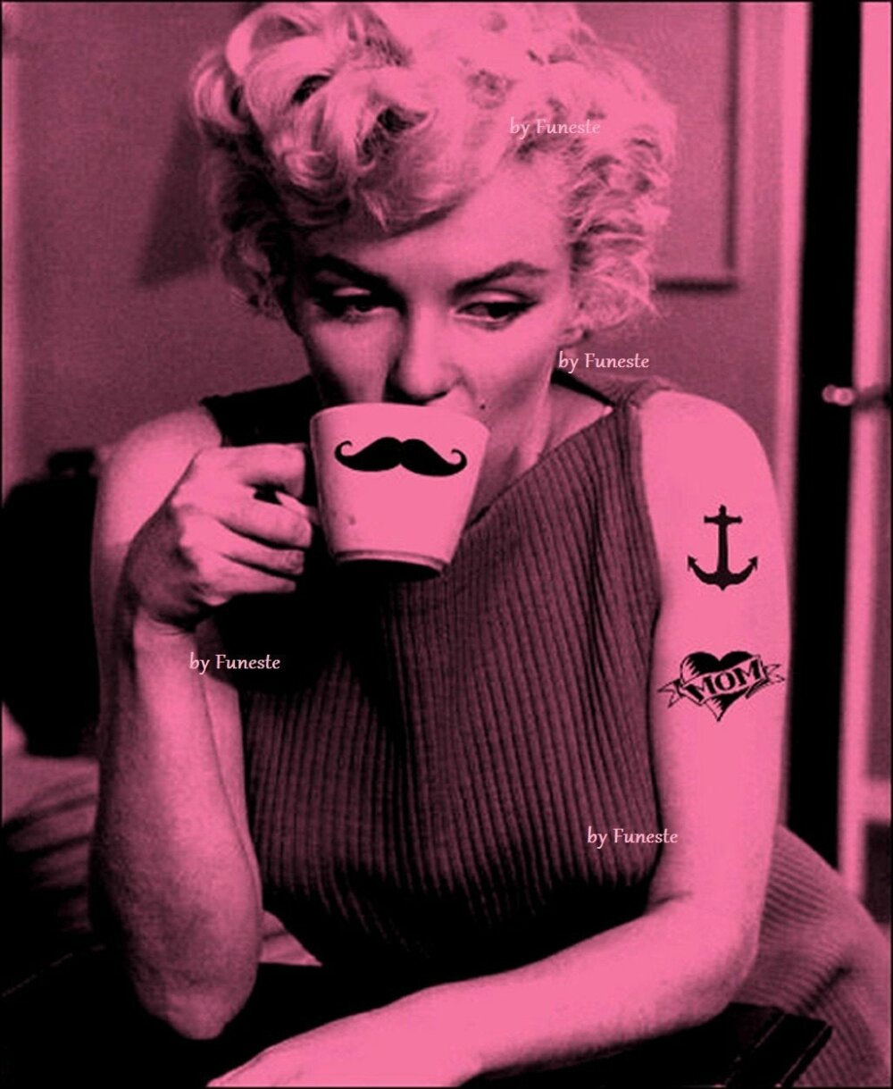 Carte Postale Rock n Love, Marilyn, Glam, Rockabilly, Pin up, Pink, Photographie, Art, Moustache, Tattoo, Voeux, Galentin, Tatouage, Maman