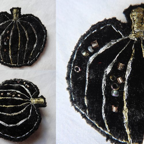 Broche textile citrouille velours noir, cucurbitacée, forêt, sorcière, halloween, nature