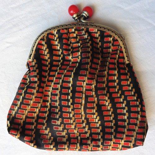 Grand porte-monnaie fermoir rétro boules art déco géométrique rouge or, noir orange, bourse, cadeau femme