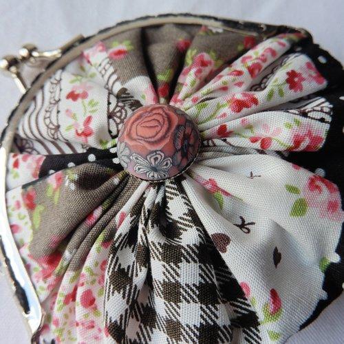 Porte-clés mini porte-monnaie fermoir rétro liberty floral vichy pois noir, fleuri, pièces, bourse, jeton caddie, cadeau