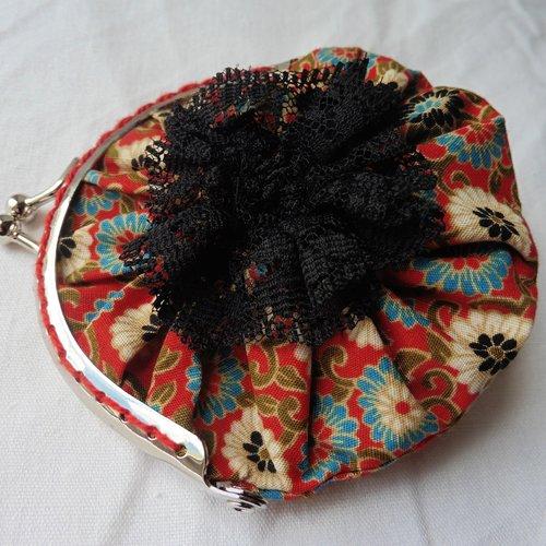 Porte-clés mini porte-monnaie fermoir rétro fleurs floral paprika rouge brique rouille, pièces, bourse, jeton caddie