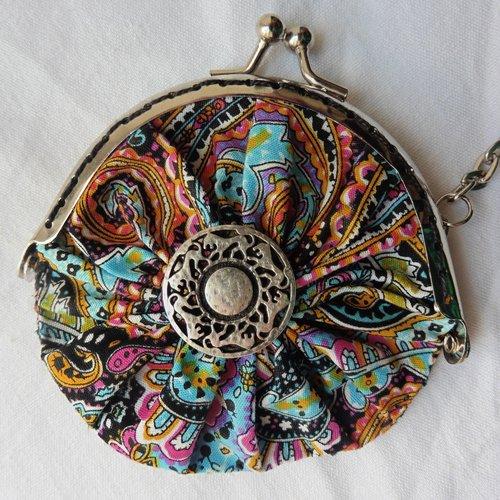 Porte-clés mini porte-monnaie fermoir rétro coton cachemire holi, pièces, bourse, jeton caddie, cadeau femme, mères