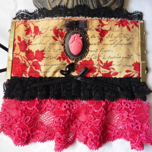 Manchette bracelet textile rouge là où repose mon coeur, baroque, coeur anatomique, dark mori, victorien, mariage gothique, vampire, rose