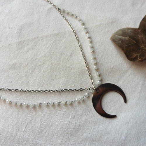 Collier ras de cou croissant lune acier double rang, magie, boheme, rosaire blanc, corne, païen, minimaliste