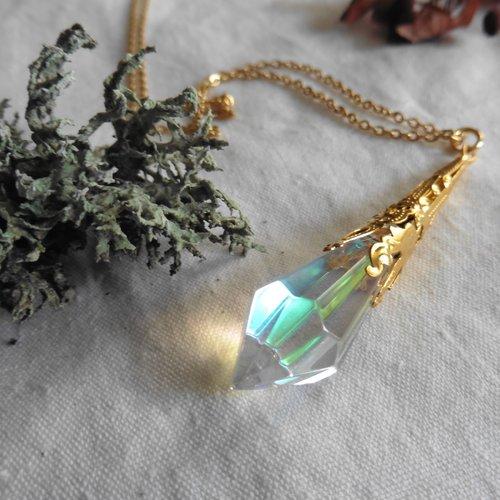 Sautoir pendule cristal irisé doré or arc-en-ciel, mariage elfique, wicca, magie, païen, fée, reine neige, gothique