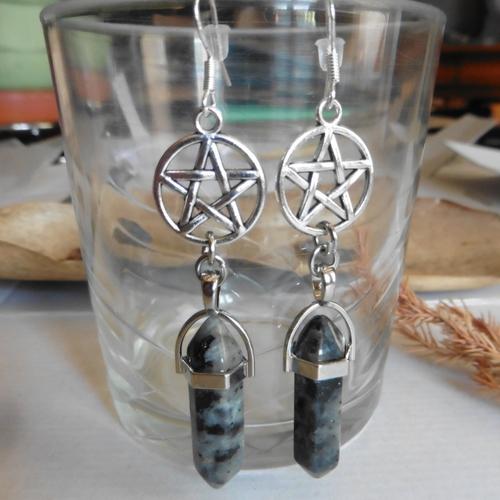 Boucles d'oreilles argent protection pentacle larvikite, sorcellerie, magie, cristal, boho, pierre
