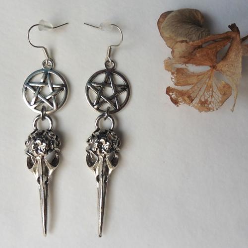 Boucles d'oreilles argent raven skull pentacle, crow, corbeau, edgar allan poe, gothique, nevermore, sorcière, pagan, wicca