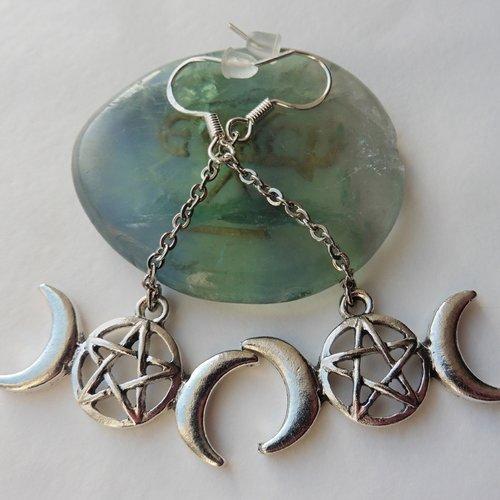 Boucles d'oreilles triple lune pentacle déesse, païen, lunaire, gothique, sorcellerie, sorcière, céleste, magie wicca, esotérique