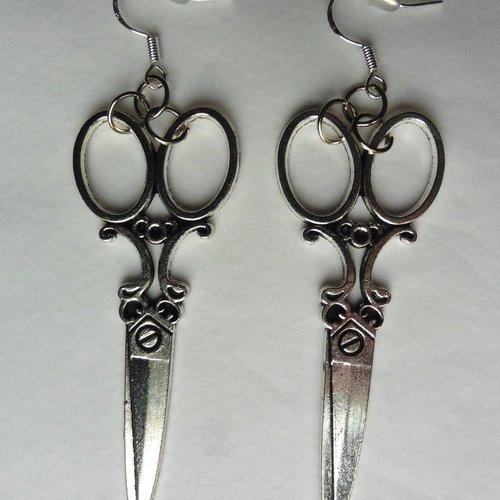 Boucles d'oreilles ciseaux victorien, gothique, shabby, steampunk, couture, styliste, scissorhands, mains d'argent, mariage, couturière
