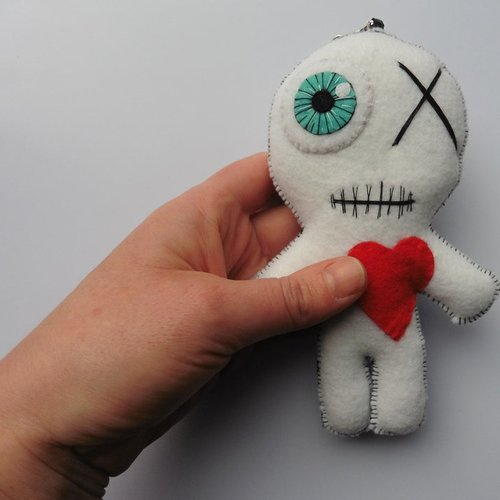 Grand porte-clés poupée vaudou blanc, momie, hoodoo, voodoo doll, clé, gothique, wicca, magie, sorcière, halloween