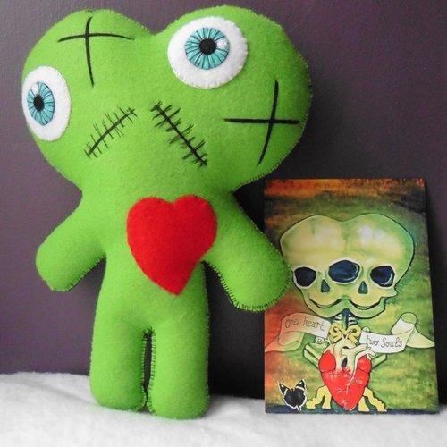 Poupée vaudou momie bicéphale siamois vert, twins, circus, freak show, amour, valentin, mariage, zombie, jumeaux, gothique, monstre