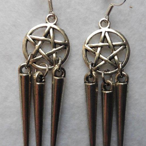 Boucles d'oreilles pentacle trident, gothique, wicca, sirène, magie, pentagramme, sorcière, païen, poséidon