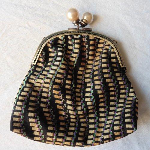 Grand porte-monnaie fermoir rétro boules art déco géométrique beige écru or, bleu vert violet, bourse, cadeau femme
