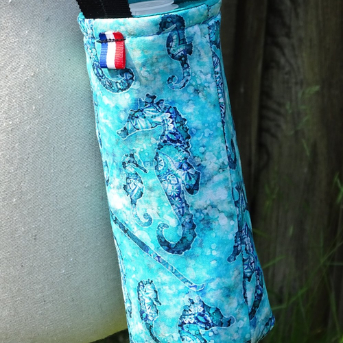 Porte bouteille isotherme à bandoulière, thème hippocampes