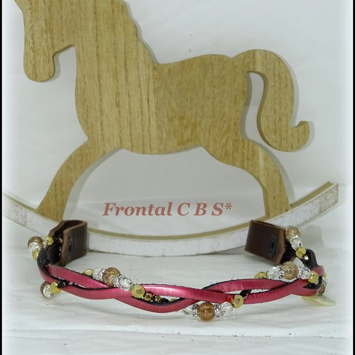 """Frontal cheval modèle """" julie"""" en cuir et perles"""