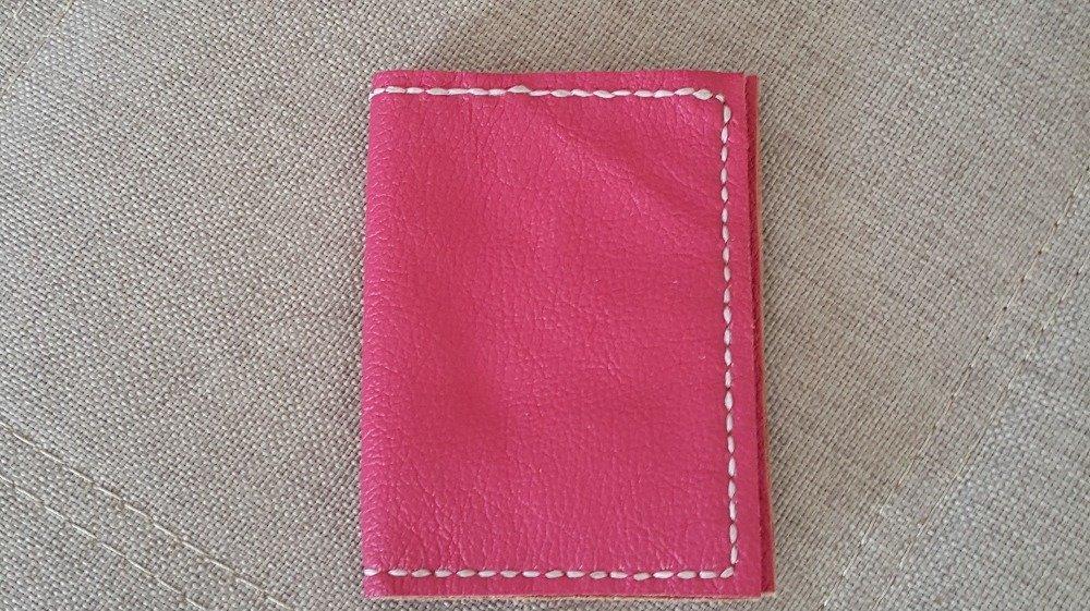 Portefeuille en cuir rose