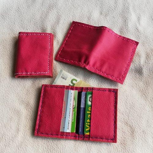 Portes cartes en cuir rose