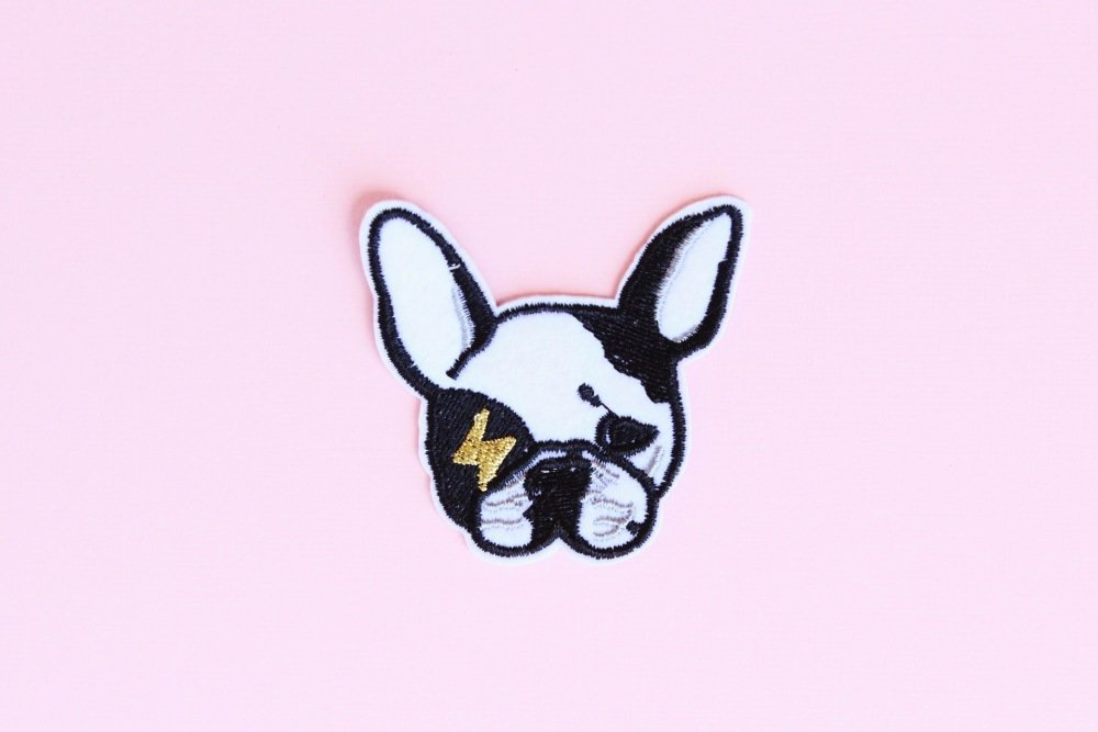 Bulldog patch, Patch thermocollant brodé, Applique, Motif thermocollant, patch vêtement, Patch animaux