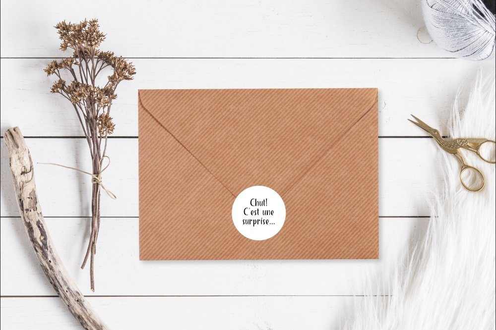 Étiquettes cadeaux, Naissance, Mariage, Surprise, Autocollant, Sticker, Paquet cadeaux, Emballage cadeaux, Packaging