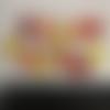 12 mini oursons en résine jaune-orange-rouge