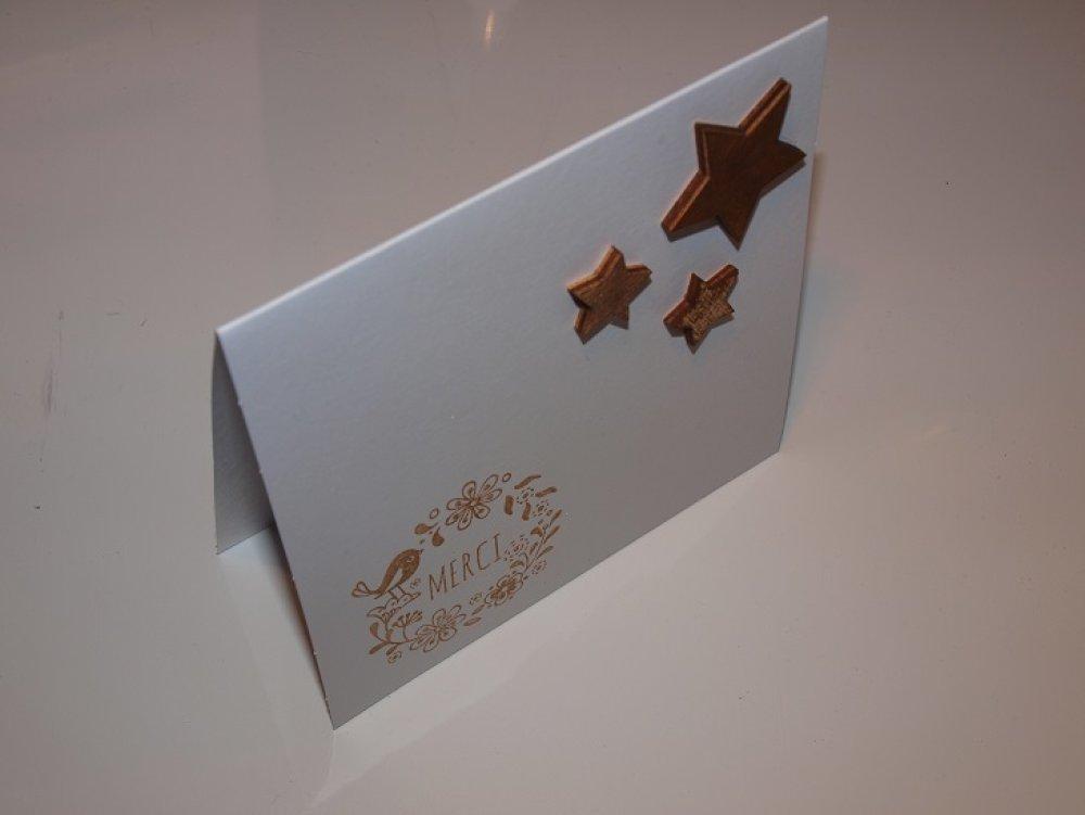 Carte Remerciements Merci Etoiles et son enveloppe