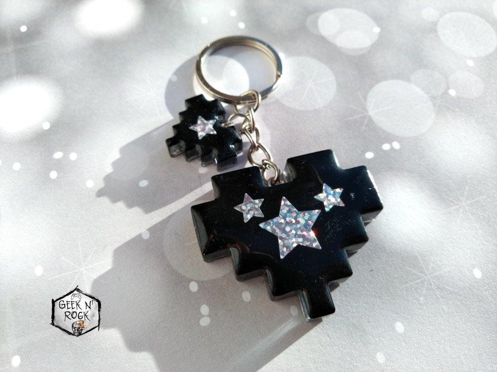 Porte-clés coeur pixel étoiles galaxie holographique