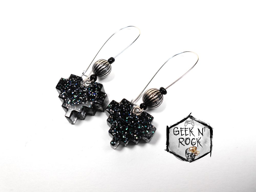 Boucles d'oreilles  coeur pixel noir