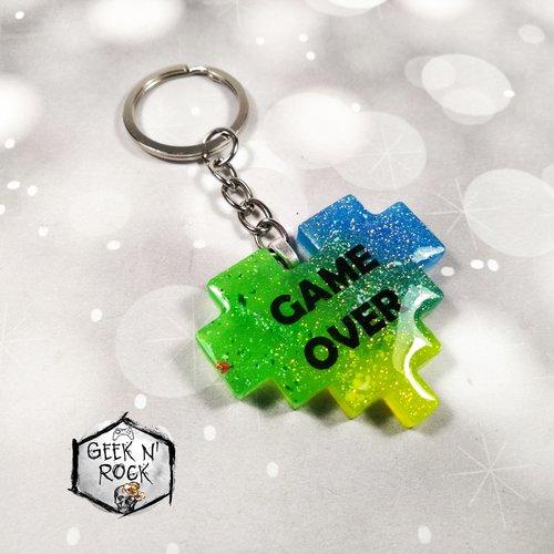 Porte Clés Coeur Pixel Geek Gamer No Life Nerd Arc En Ciel
