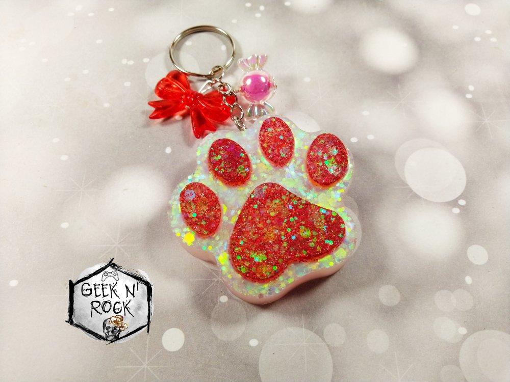 Porte-clés coeur bijoux de sac patte de chat ou patte de chien à paillettes avec noeud et bonbon