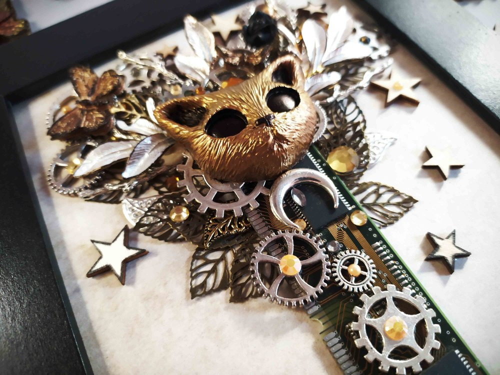 Cadre décoratif chaton nature et technologie steampunk