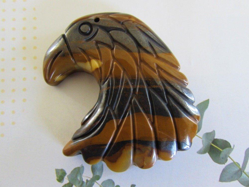 Pendentif aigle en Oeil de tigre