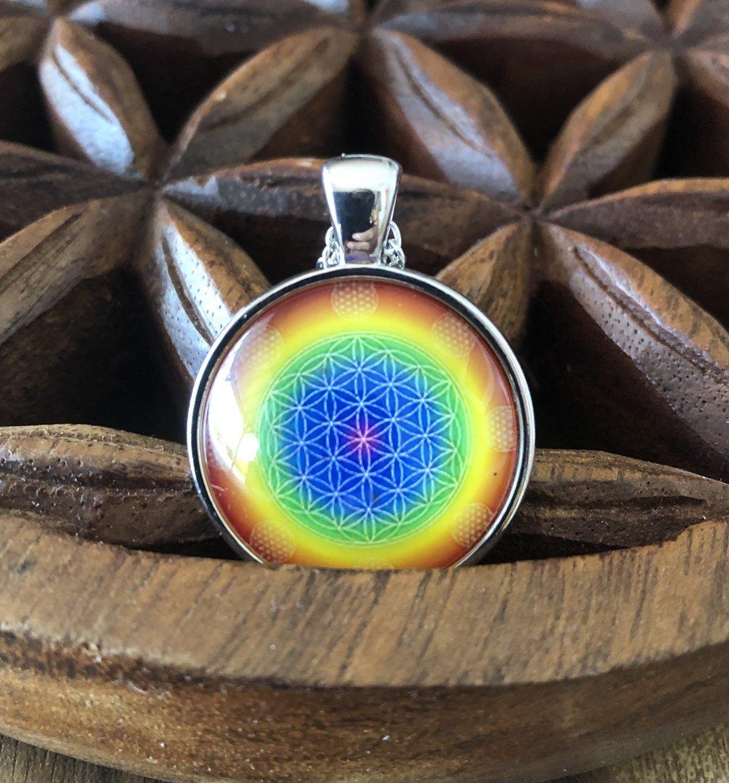 Pendentif collier fleur de vie 7 chakras avec la chaîne.