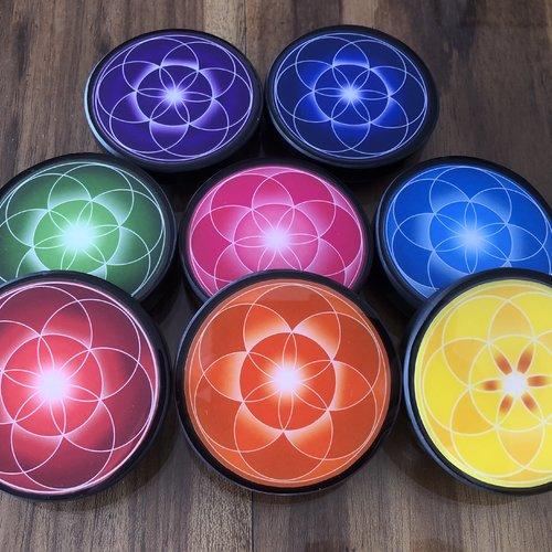 Plaque shungite graine de vie symbole de renouveau aux couleurs 7 chakras. la graine de vie soutien vos envies changement surtout travail..