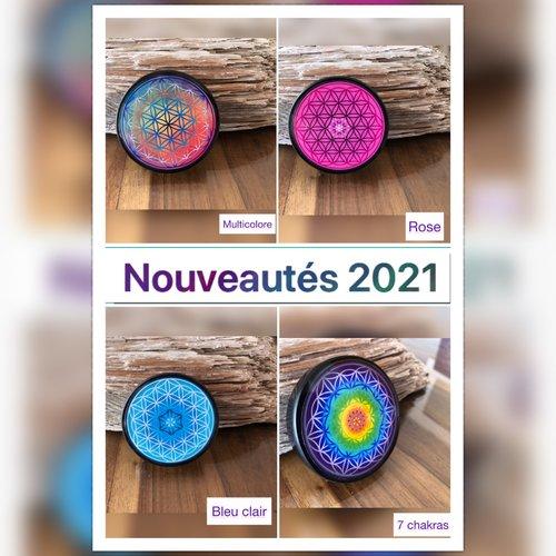 Nouveautés 2021. plaque fleur de vie en shungite de 6,5 cm. nettoie et recharge vos pierres semi-précieuses...