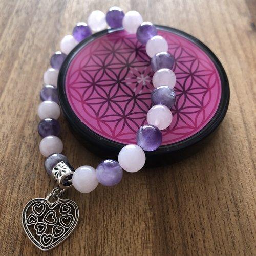 Nouveau - plaque fleur de vie shungite + bracelet améthyste / quartz rose fleur de vie avec son joli coeur fleur de vie.