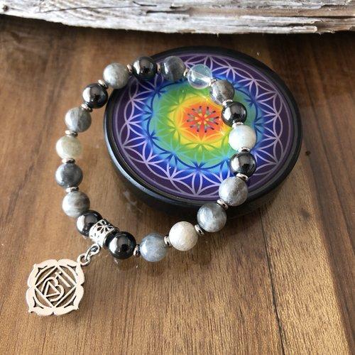 Nouveau - plaque fleur de vie shungite + bracelet pierre semi-précieuse labradorites, hématites, cristal roche, médaille chakra raci